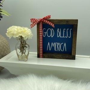 God Bless America mini sign ribbon